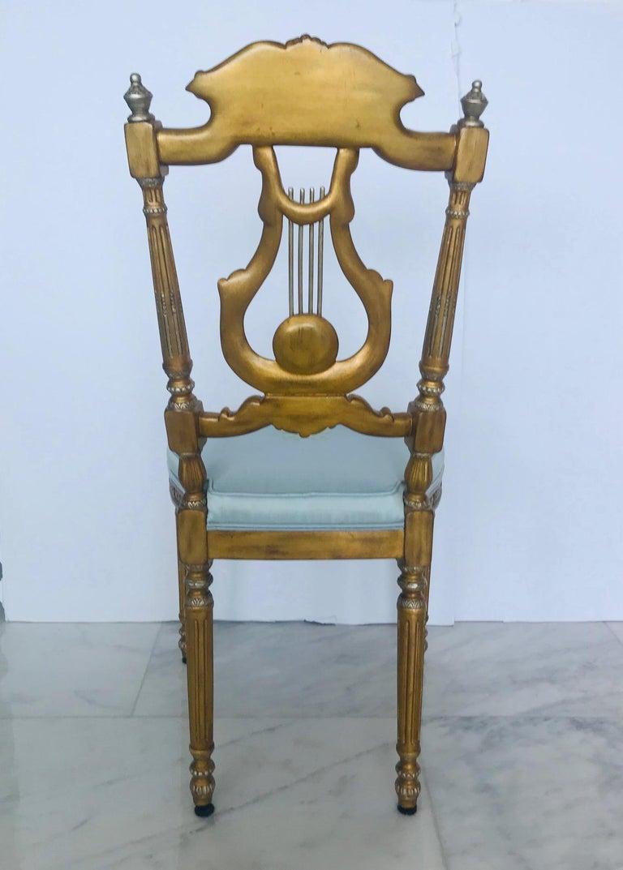 Elegant Italian Belle 201 Poque Lyre Chair In Antique Gold