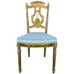 Elegant Italian Belle Époque Lyre Chair in Antique Gold Leaf