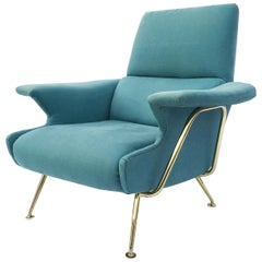 Elegant Mid-Century Italian Brass Framed Lounge Armchair, 1950s Hollywood