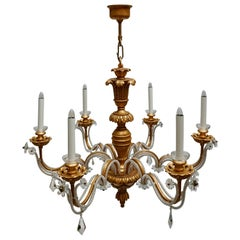 Elegant Italian Chandelier is Brass Wood and Glass