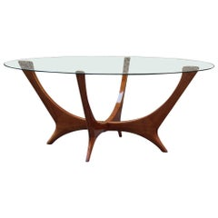 Italian Coffee Table Round Cherry Wood Glass Top Mid-Century Modern 1950s