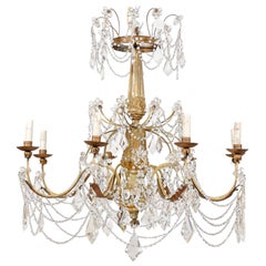 Elegant Italian Crystal and Giltwood Eight-Light Chandelier, Early 20th Century