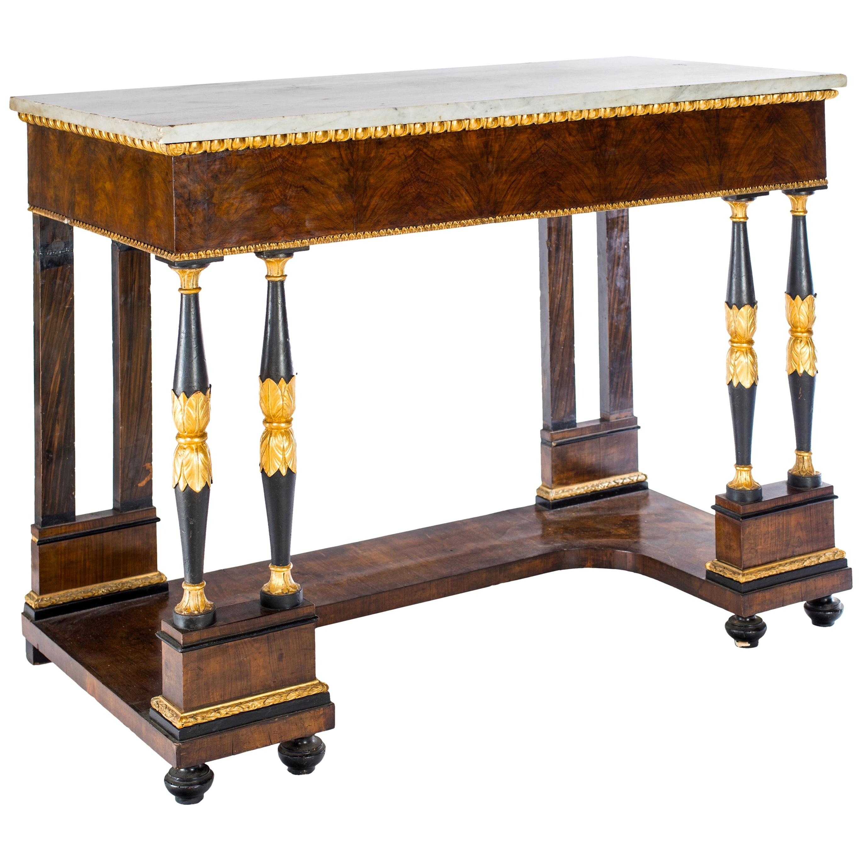 Elegant Italian Empire Consoles Tables with White Marble Top, 1815