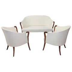 Elegant Italian Living Room Set by Progetti Giorgetti White Cream, 1970s