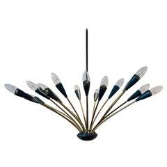Elegant Italian Mid-Century Modern Sputnik Brass Chandelier Sixteen-Arm