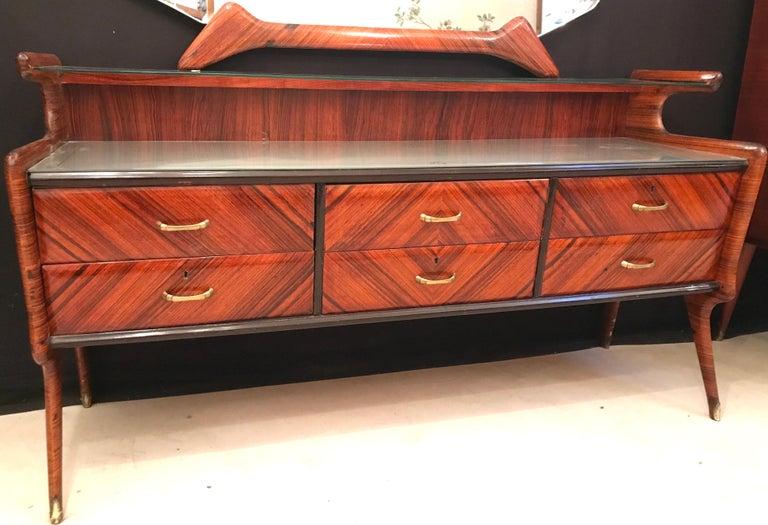 Elegant Italian Midcentury Dresser with Mirror For Sale 5