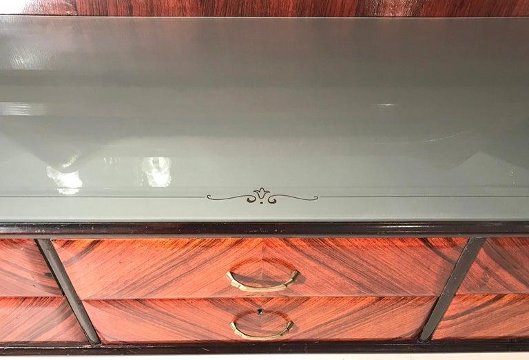 Elegant Italian Midcentury Dresser with Mirror For Sale 6