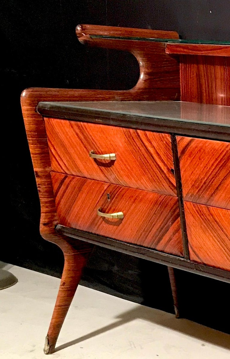 Elegant Italian Midcentury Dresser with Mirror For Sale 8