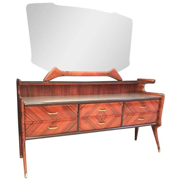 Elegant Italian Midcentury Dresser with Mirror For Sale 9