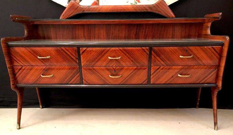 Elegant Italian Midcentury Dresser with Mirror For Sale 1