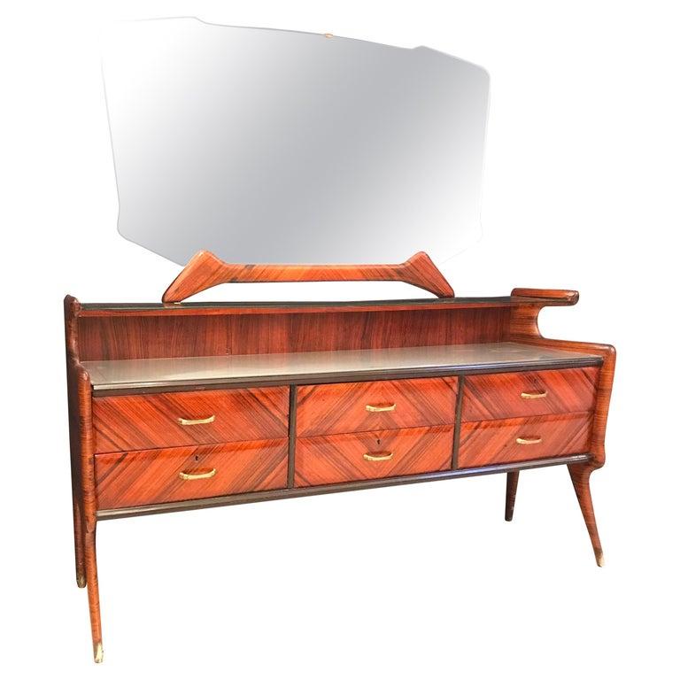 Elegant Italian Midcentury Dresser with Mirror For Sale