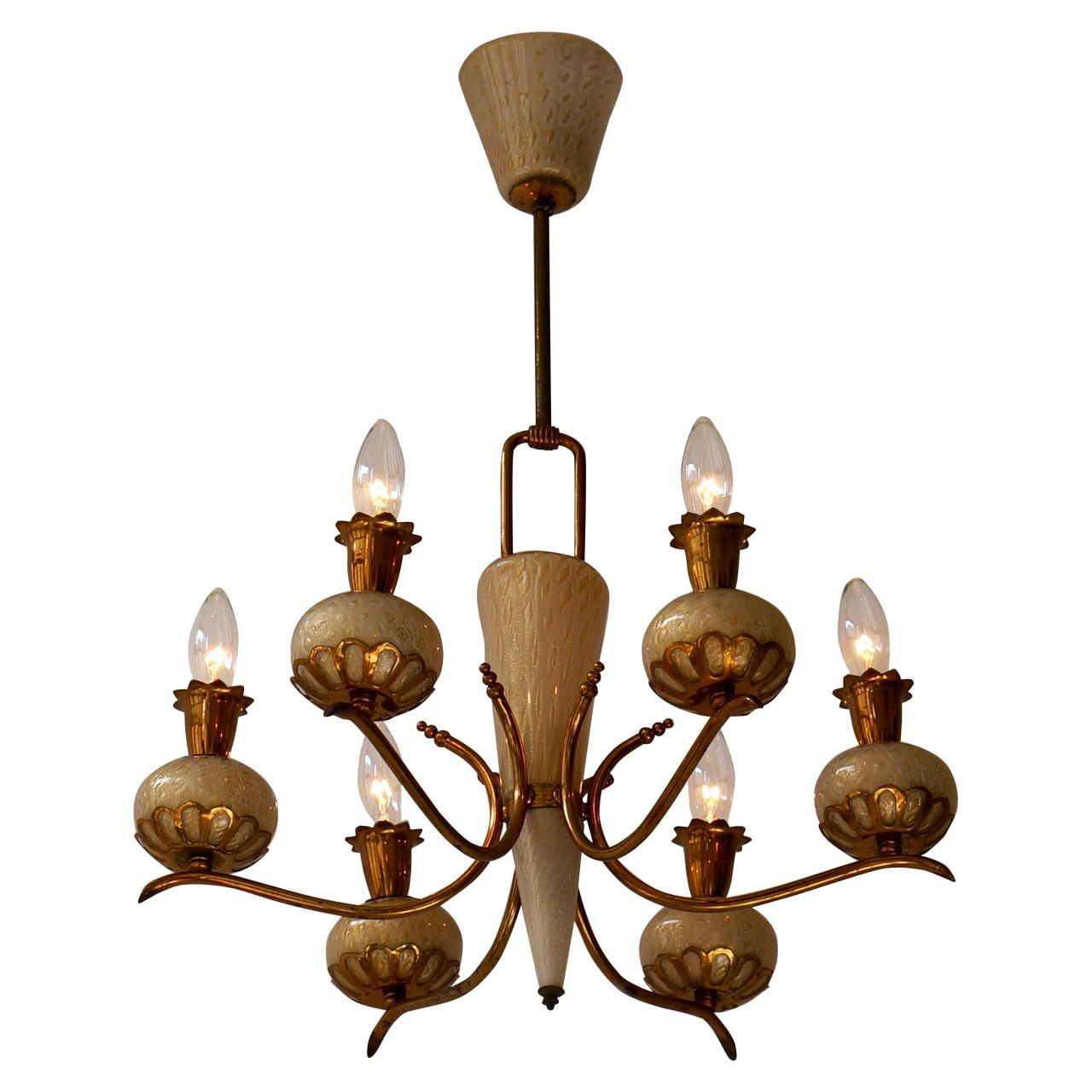 Elegant Italian Murano Gold Glass and Brass Chandelier by Barovier & Torso