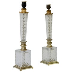 Elegant Italian Pair of Doré Bronze Cut Crystal Ormolu Column Neoclassical Lamps