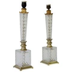 Elegant Italian Pair of Doré Bronze Cut Crystal Ormolu Column Neoclassical Lamps