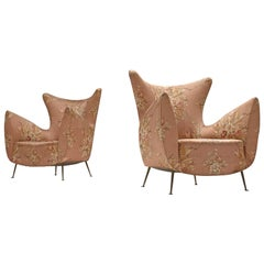 Elegant Italian Pair of Lounge Chairs in Pink Floral Upholstery