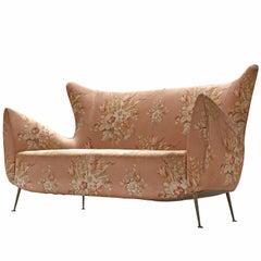 Elegant Italian Sofa in Pink Floral Upholstery