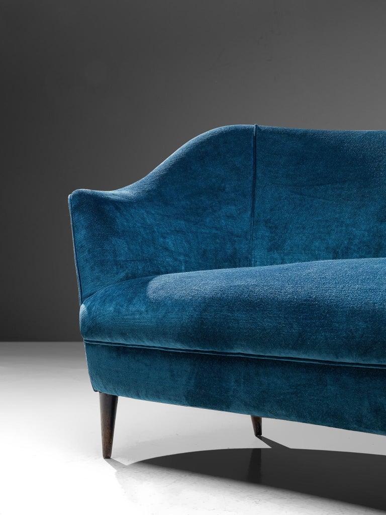 Elegant Italian Sofa in Prussian Blue Upholstery For Sale 1