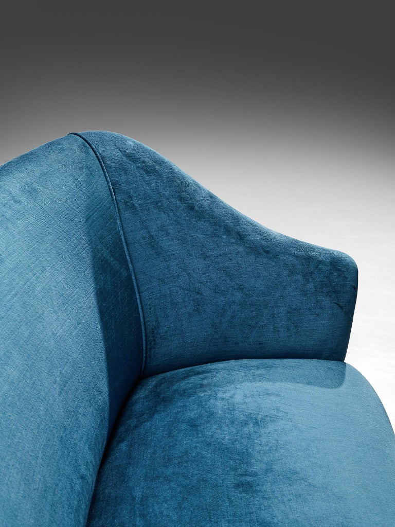 Elegant Italian Sofa in Prussian Blue Upholstery For Sale 2
