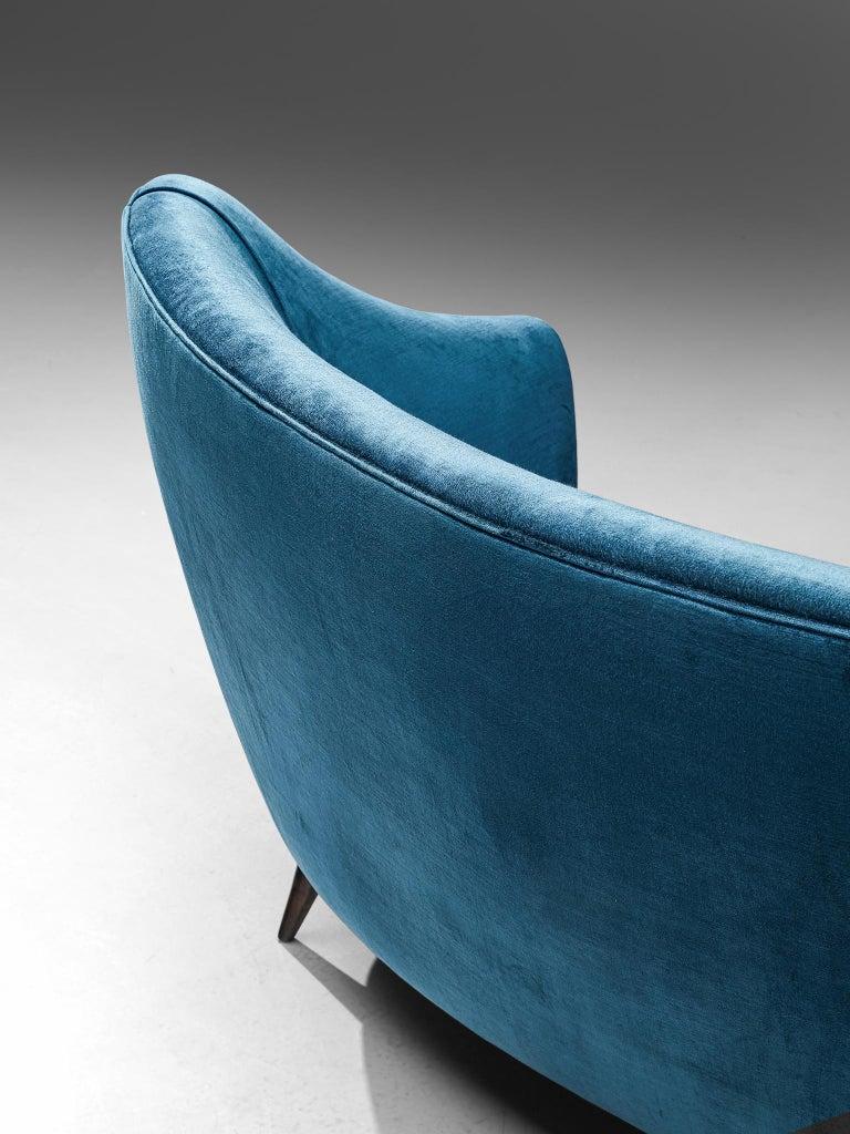 Elegant Italian Sofa in Prussian Blue Upholstery For Sale 3