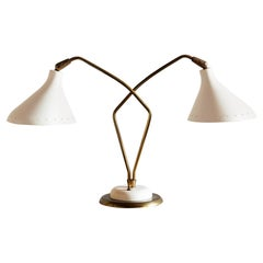 Elegant Italian Table Lamp with Star Perforated Shades, 1950s