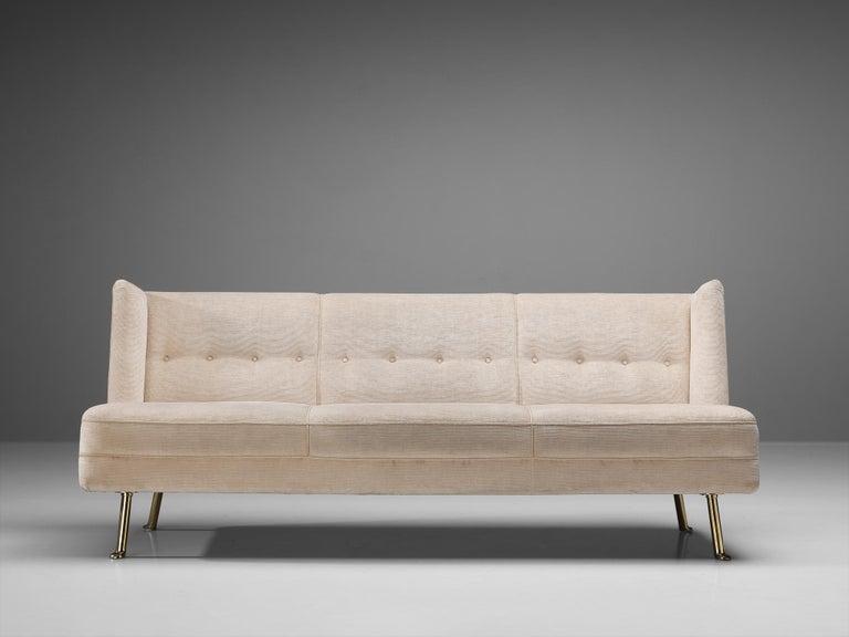 Elegant Italian Three-Seat Sofa in Cream Velvet For Sale 2