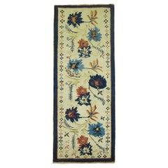 Elegant Ivory Blue Color Mid-20th Century Turkish Flower Motif Wool Runner