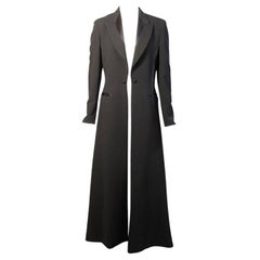 Elegant Jean Paul Gaultier Long Tuxedo Coat with Satin Lapels Intricate Seaming