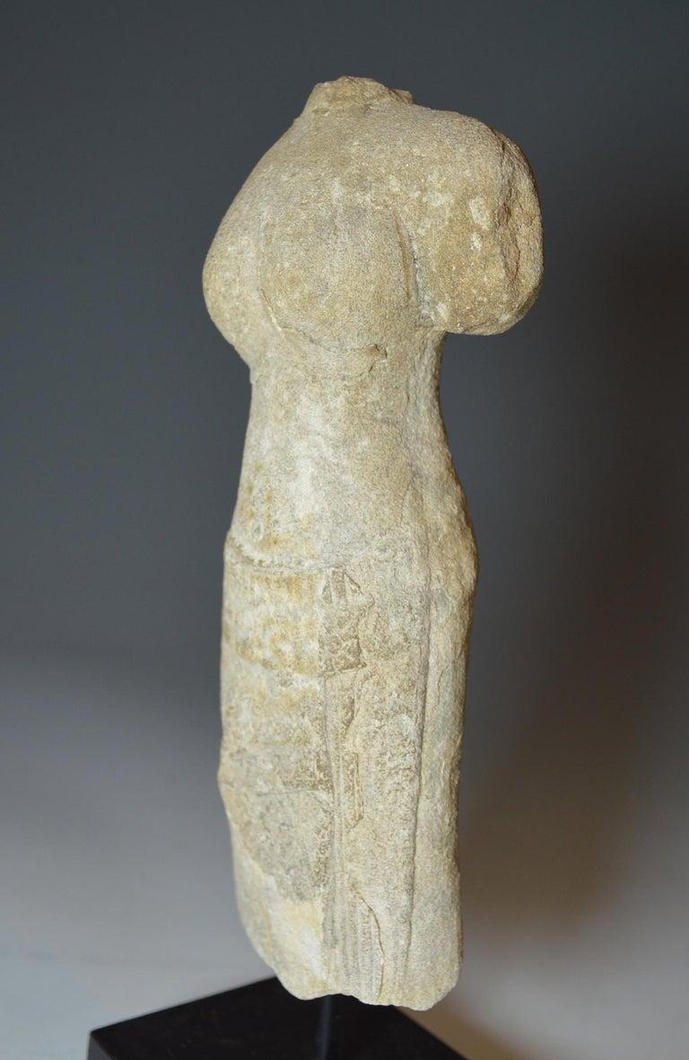 Cambodian Elegant Khmer Female Stone Figurative Torso, circa 10th-12th Century For Sale