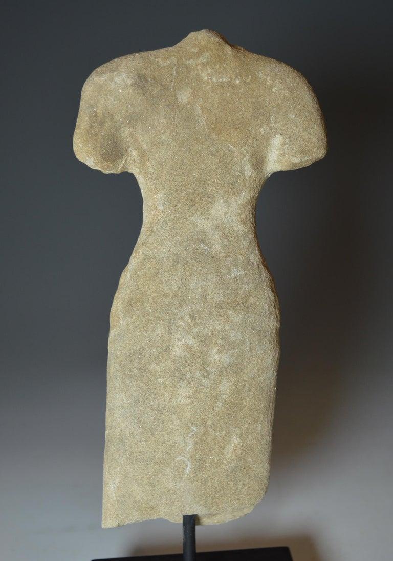 Elegant Khmer Female Stone Figurative Torso, circa 10th-12th Century In Good Condition For Sale In London, GB