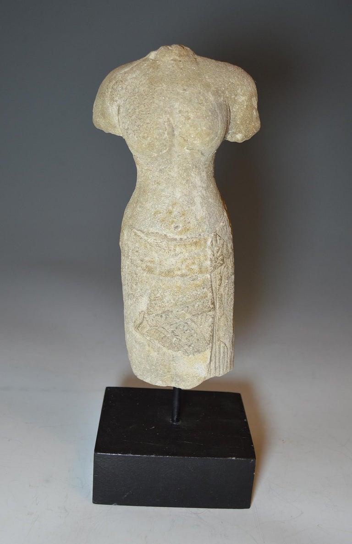 18th Century and Earlier Elegant Khmer Female Stone Figurative Torso, circa 10th-12th Century For Sale
