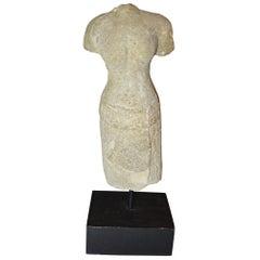 Elegant Khmer Female Stone Figurative Torso, circa 10th-12th Century