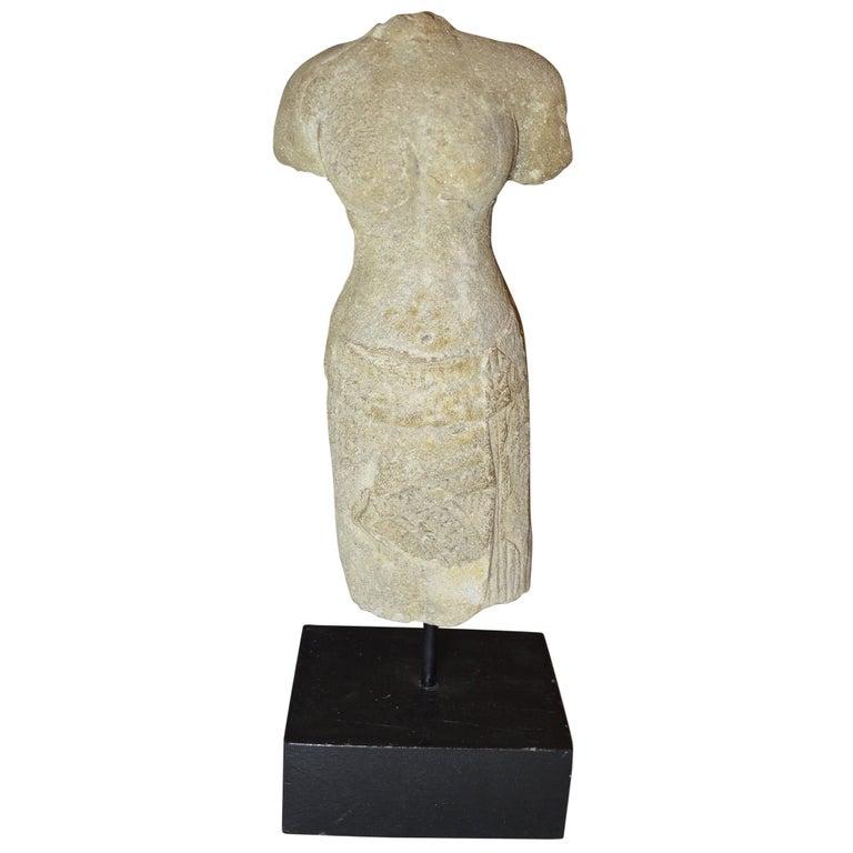 Elegant Khmer Female Stone Figurative Torso, circa 10th-12th Century For Sale