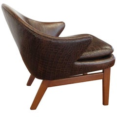 Elegant Kurt Olsen Armchair in Teak and Alligator Print Leather
