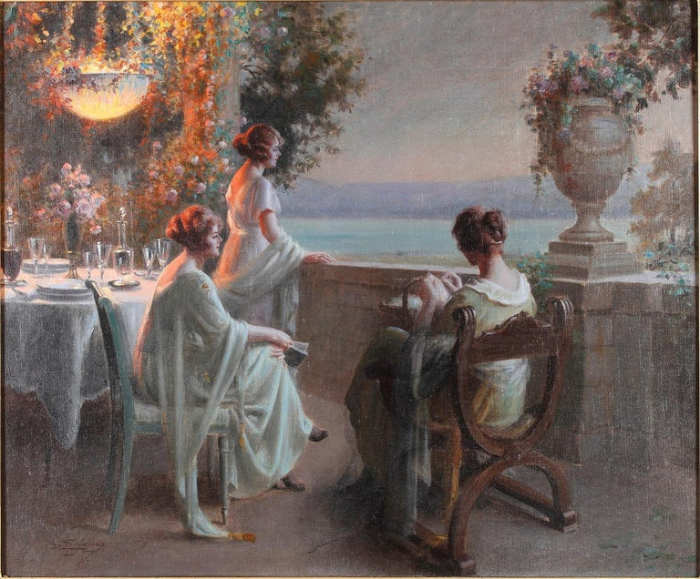 Signed D. Enjolras  Measures: With frame, height 86.5 cm (34 in.), width 99 cm (38.9 in.) Without frame: Height 59 cm (23.2 in.), width 71 cm (27.9 in.)  Charming genre scene depicting three young ladies, in the evening, on a terrace by a