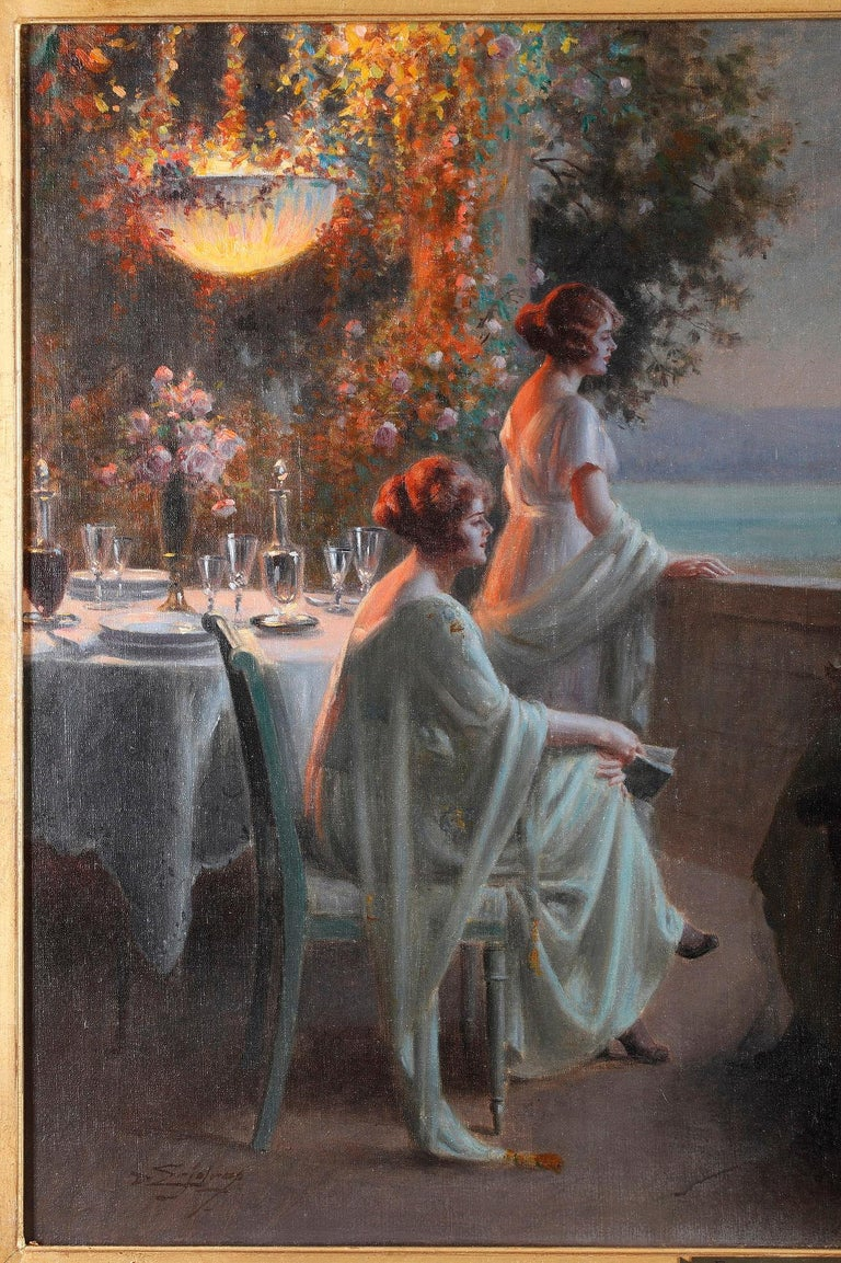 French Elegant Ladies on the Terrace by D. Enjolras For Sale