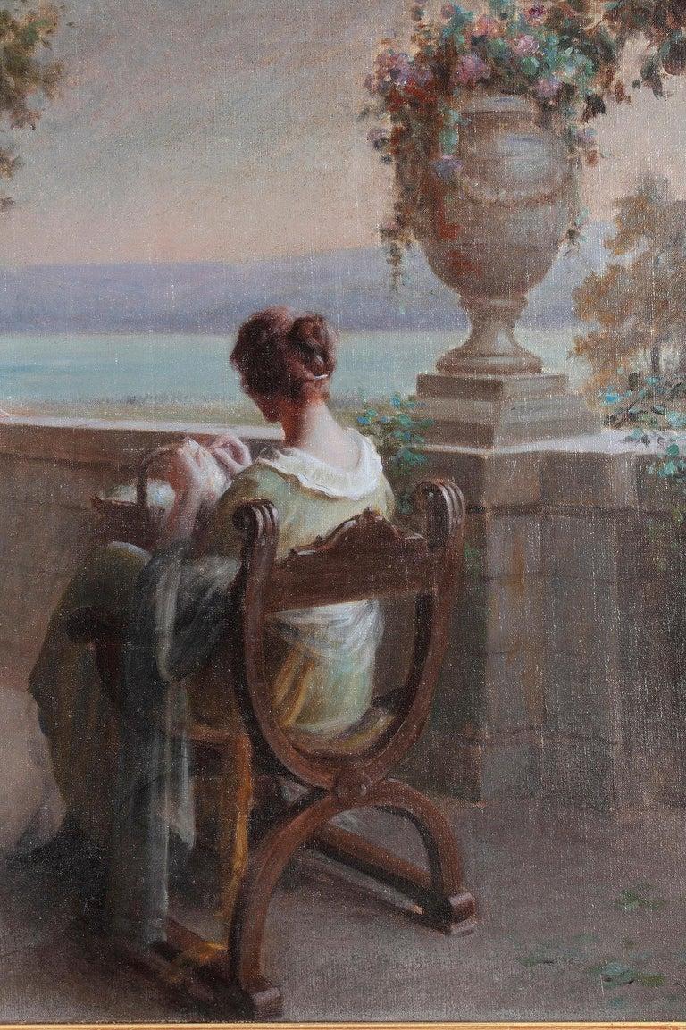 Gilt Elegant Ladies on the Terrace by D. Enjolras For Sale