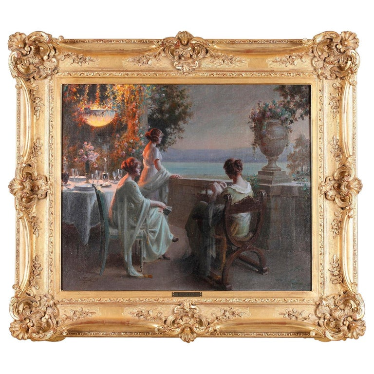 Elegant Ladies on the Terrace by D. Enjolras For Sale