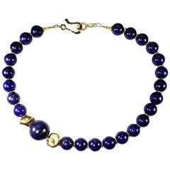 16 Inch elegant Lapis Lazuli Choker Necklace with Golden Nugget Focals