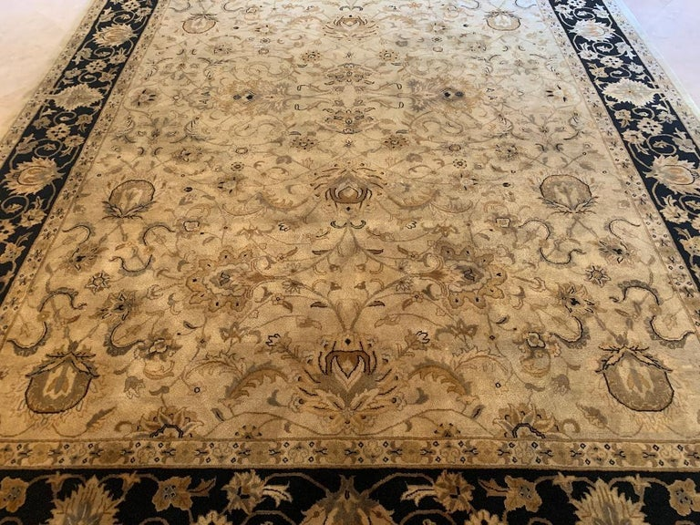 Indian Elegant Handmade in India Wool Oriental Area Rug in the Serapi Style For Sale