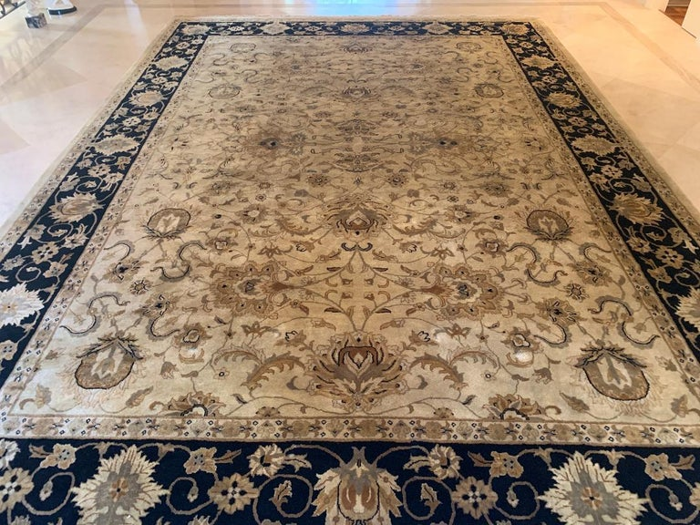 Elegant Handmade in India Wool Oriental Area Rug in the Serapi Style In Good Condition For Sale In Tustin, CA