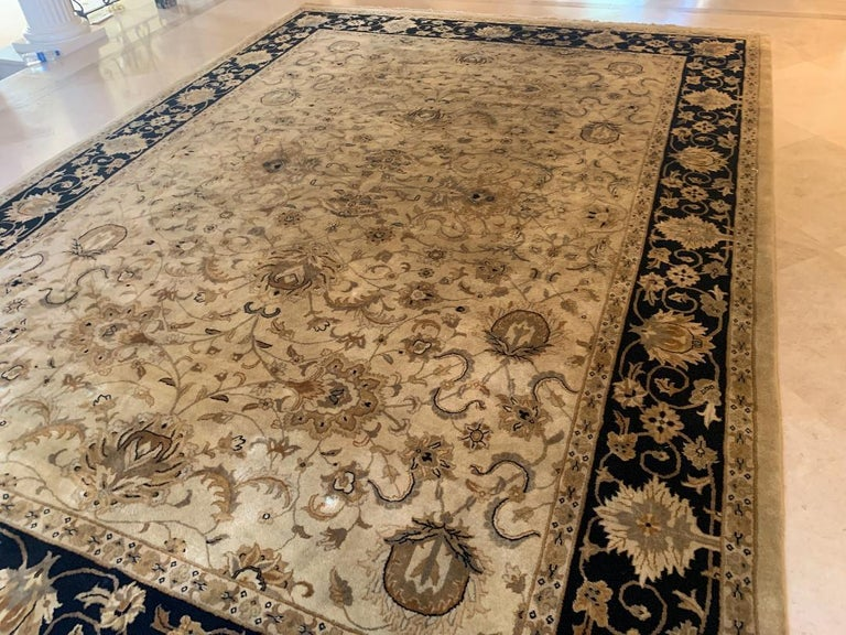 20th Century Elegant Handmade in India Wool Oriental Area Rug in the Serapi Style For Sale