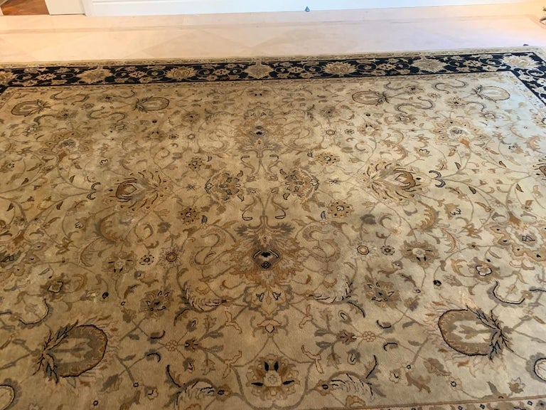 Elegant Handmade in India Wool Oriental Area Rug in the Serapi Style For Sale 1
