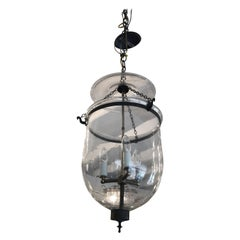 Elegant Large Antique Glass Hurricane Style Lantern Chandelier
