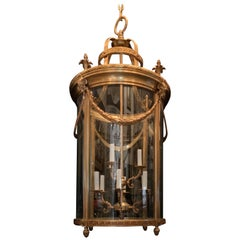 Elegant Large Bronze Louis XVI Neoclassical Lantern Fixture Curved Glass Panels
