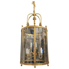 Elegant Large Bronze Louis XVI Neoclassical Lantern Fixture Curved Glass Panels