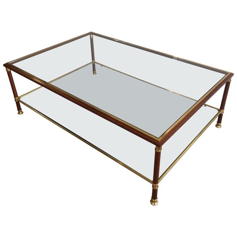 Elegant Brass And Glass Coffee Table: Elegant Large Burgundy Lacquered And Brass Coffee Table