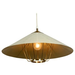 Elegant Large Metal Ceiling Lamp with a Brass Grid by Vereinigte Werkstätten