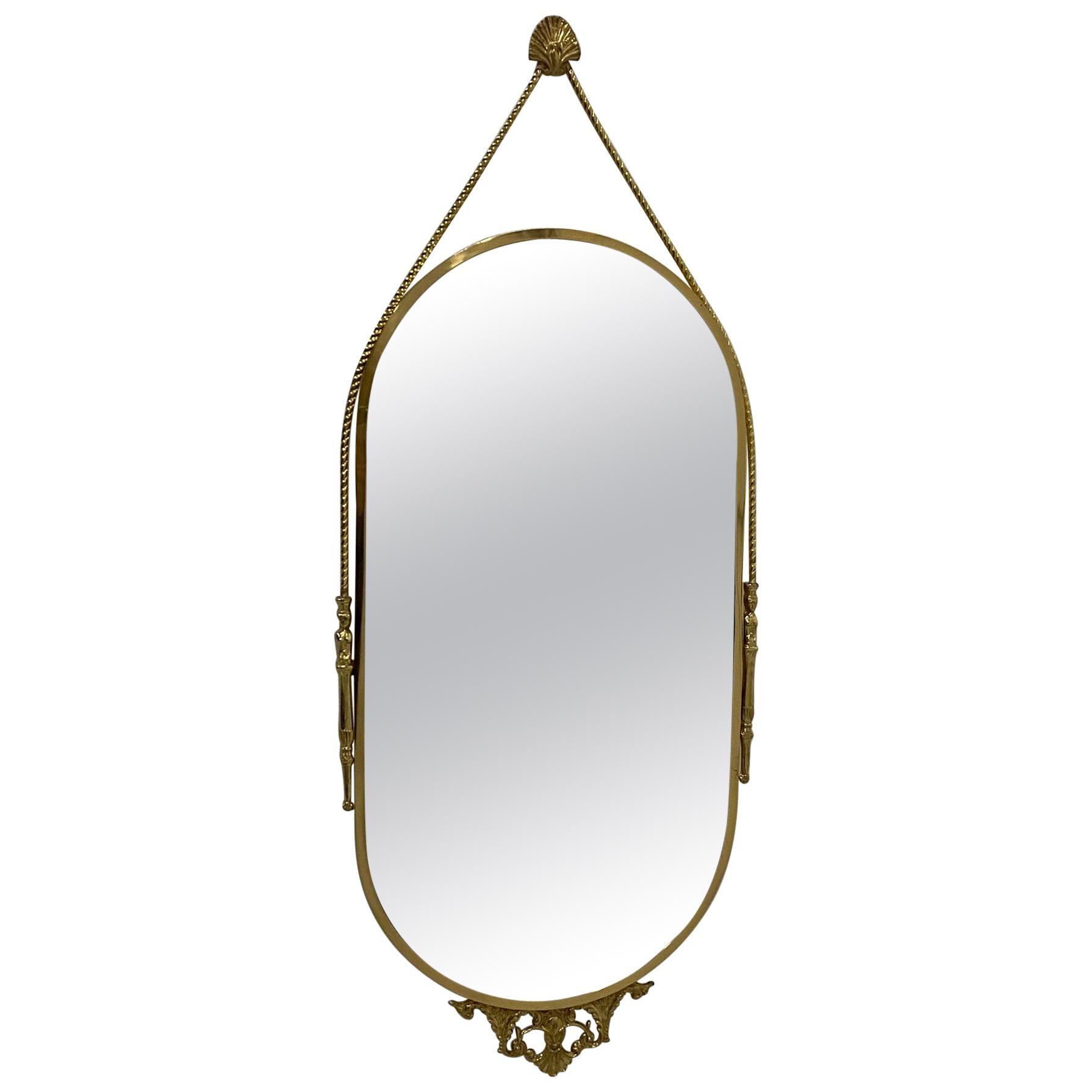 Elegant Large Oval Italian Brass Wall Mirror