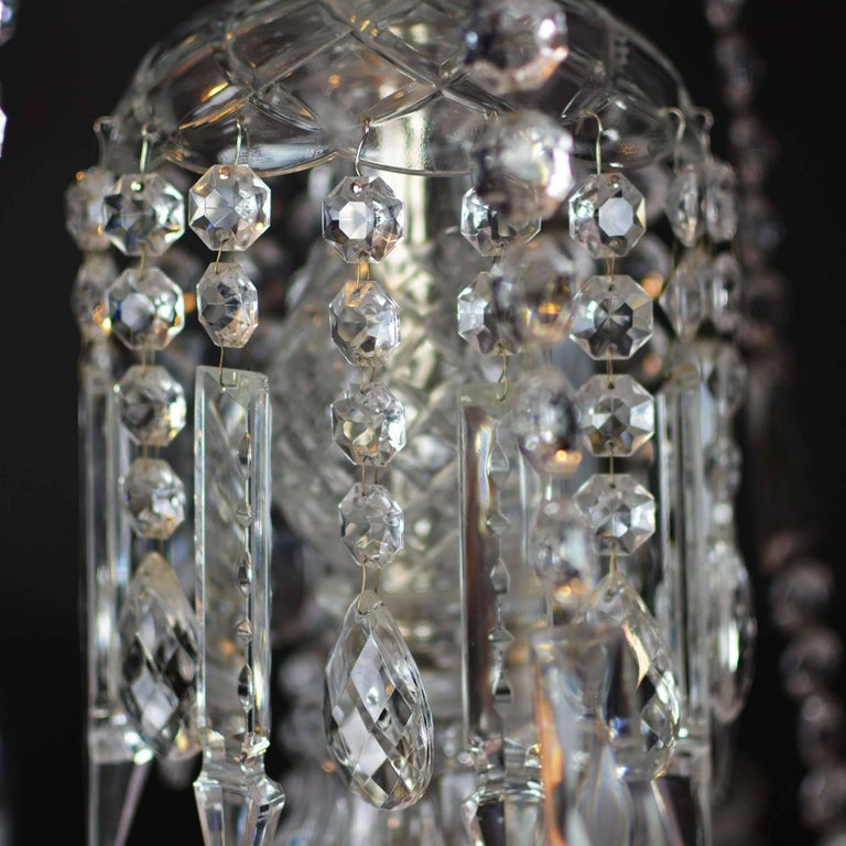 Elegant Large Two-Tier Eighteen-Arm Crystal Chandelier Draping Crystal Beading For Sale 2