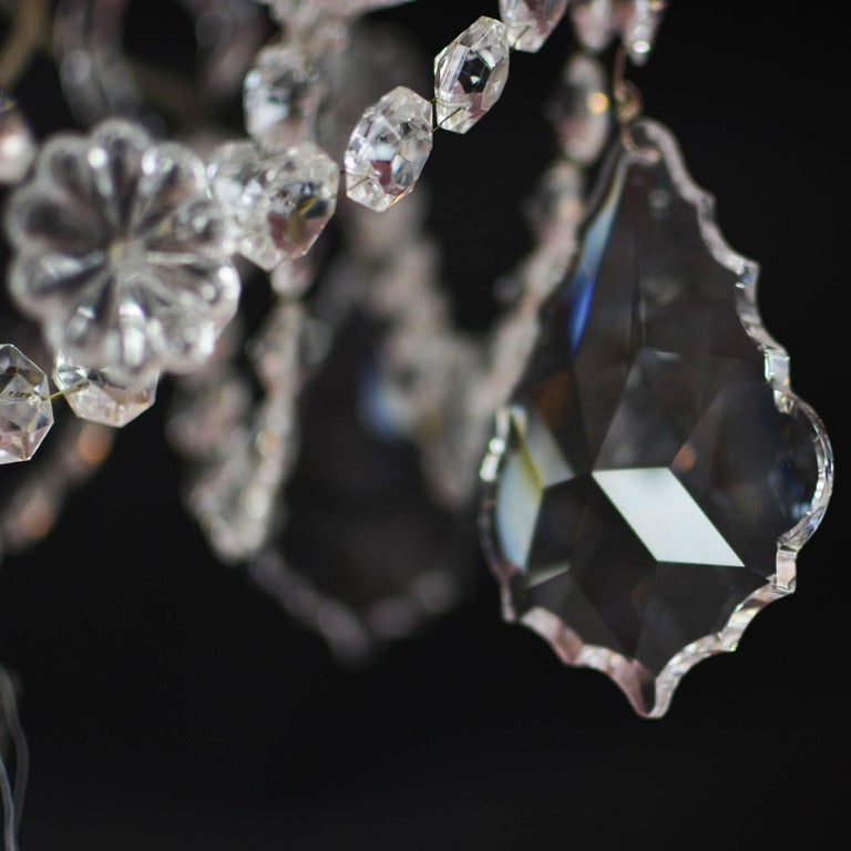 Elegant Large Two-Tier Eighteen-Arm Crystal Chandelier Draping Crystal Beading For Sale 3